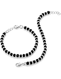 MJ 925 Traditional Silver & Black Beads Baby Nazariya in Pure 92.5 Sterling Silver - One Pair