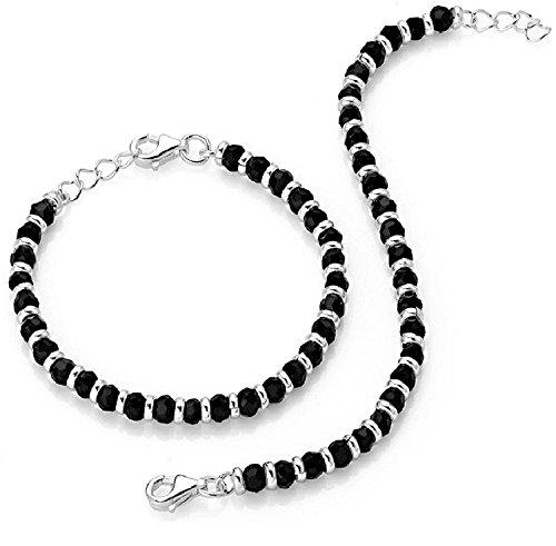 MJ 925 Traditional Silver & Black Beads Baby Nazariya (Kids Nazariya) in Pure 92.5 Sterling Silver for Kids – One Pair