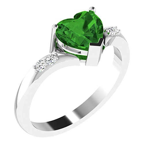 💕 His & Her 18KT White Gold, Diamond and Emerald Ring for Women