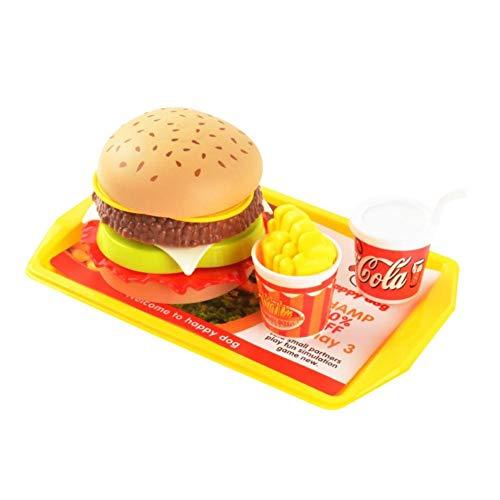 Szseven Juego de Juguetes de Comida de simulación, los niños Juego de Roles de Juego de Cocina Juego de Juguete de Hamburguesa para Cortar Hamburguesas de Papas Fritas Papas Fritas Cola Modelo Juego