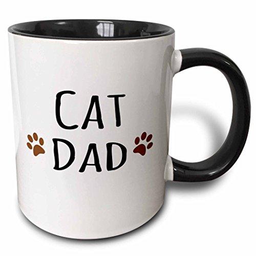 3drose 3drose Katze Dad Text in schwarz mit zwei Paw Prints-Für männlichen Haustierbesitzer, und Kitty-Zweifarbig Schwarz Tasse, 313ml (Tasse 153843_ 4), schwarz/weiß -