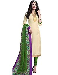 Exotic Cream Bhagalpuri Silk Straight Suit With Dupatta.
