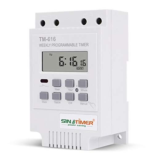 Delicacydex SINOTIMER TM616W-2 30A 220 V Elektronische Wöchentliche Programmierbare Digitale Zeitschaltuhr Relais Timer Control Timer DIN-schiene - Weiß -