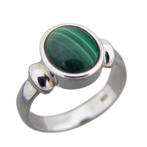 Damen Ring Silber 925 Malachit (3710) Größe 56 (Edelstein-ring Grüne)