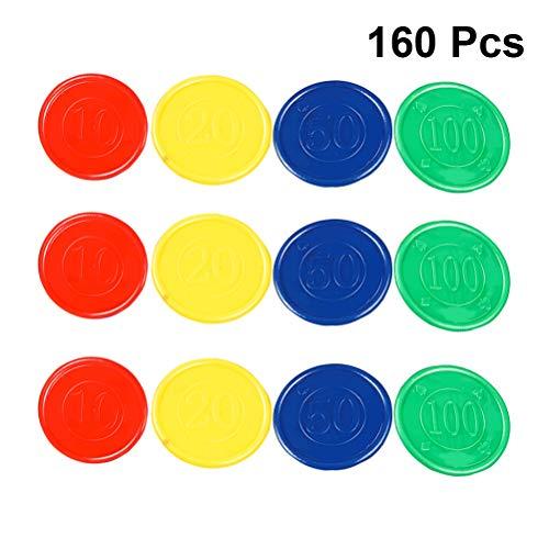 STOBOK Tokens Plastic Counters Poker Chips mit Aufbewahrungstasche für Mathematik oder Spiele 160st