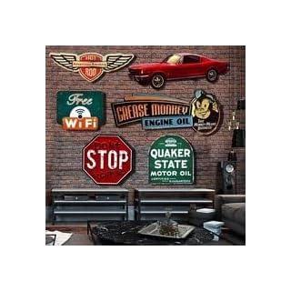 AOXT Metallschild Loft Vintage Blech Retro Restaurant Art-Sticker Poste Haus Wandschild Bar