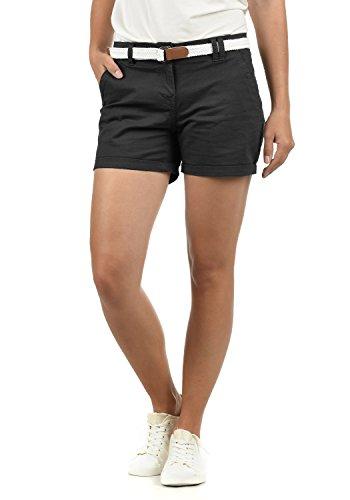 DESIRES Chanett Damen Chino Shorts Bermuda Kurze Hose mit Gürtel Stretch, Größe:38, Farbe:Black (9000)