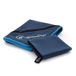 2er-Set Premium Mikrofaser Handtücher – inkl. Packtasche | 60×120 + 40×60 cm | Ultra saugfähige & schnelltrocknende Sport- und Badehandtücher mit praktischer Reißverschluss Ecktasche | Ideal für Fitness, Yoga, Sauna, Outdoor, Reisen