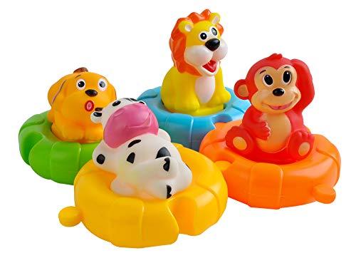 Iso Trade Badespielzeug Set Kinder Rettungsringe Puzzle 4 Ringe 4 Tiere Baby Wasser 6102