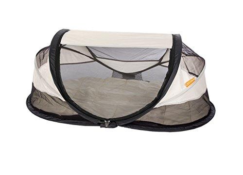 Deryan Reisebett/Travel-cot Baby Luxe Reisebettzelt inklusive Schlafmatte, selbstaufblasbarer Luftmatratze und Tragetasche mit Pop-Up innerhalb 2 Sekunden aufgebaut,, cream