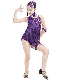 besbomig Bambini Festa Competizione Dancewear Vestiti da Ballo Latino Salsa  Tango - Ragazze Paillettes Nappe Ballroom 0a483e805b4