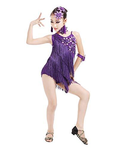 BESBOMIG Niños Fiesta De Concurso Dancewear Vestido de Baile Latino Salsa Tango - Chicas Lentejuelas Borla Ballroom Danza Vestido