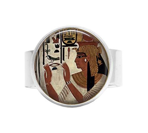b2b Ägyptische Göttin Schmuck – Hieroglyphe – Ägyptischer Ring – Isis Gott – Ägyptische Wandbild – ägyptische Malerei Verstellbarer Ring – Kleopatra – Sheba Queen