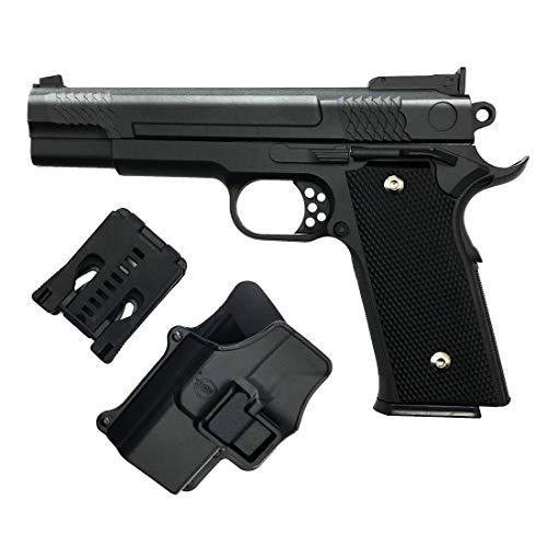 Rayline Softair de Pistola Airsoft G20 + Metal Completo (presión de Resorte Manual) Incluye Funda de Pistola (cinturón), Escala 1: 1, Peso 660 g, Longitud 19.5 cm, Calibre 6 mm, Color: Negro/Negro