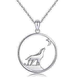 925 Sterling Silber Kette Damen Anhänger Wolf Halskette für Frauen Wikinger Schmuck Geschenk für Jungen