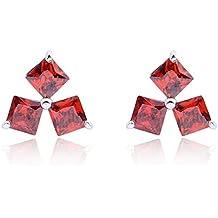 Yazilind deslumbrante plateada rodio rojo de talla princesa perfecto Circonita Mensaje garra semental Pendientes