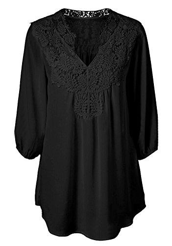 SMITHROAD Damen V Ausschnitt Chiffon Bluse mit Spitzeneinsatz Langarmshirt Locker Shirt Oberteil Schwarz