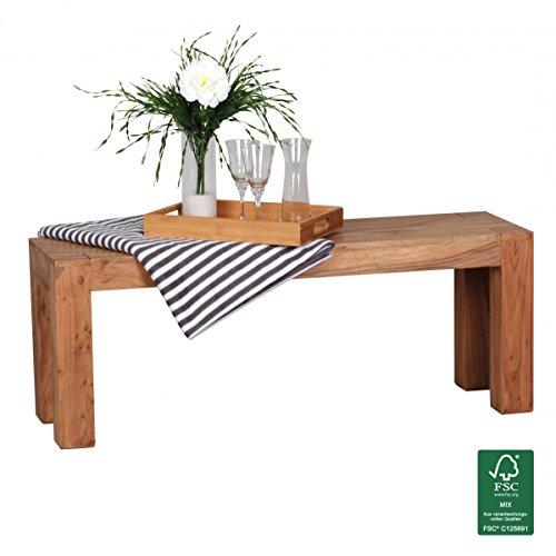 FineBuy asiento del banco de madera maciza de acacia x 120 x 35 cm ...