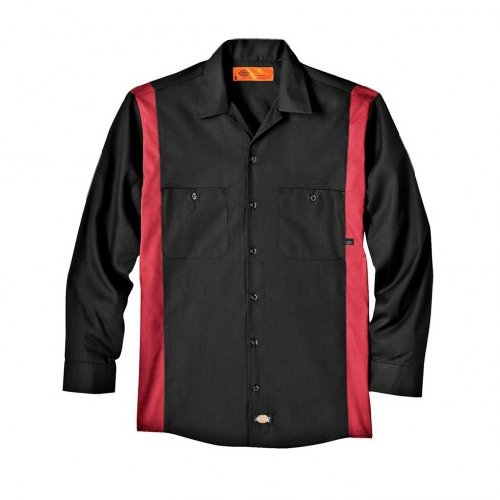Dickies Littmann Workwear ll524bker Polyester/Baumwolle Herren Long Sleeve Industrie Color Block Shirt, schwarz/Englisch Rot, XL Tall, Black/English Red, 1 -