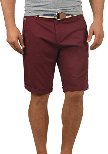 !Solid Monty Herren Chino Shorts Bermuda Kurze Hose Mit Gürtel Aus Stretch-Material Regular-Fit, Größe:XL, Farbe:Wine Red (0985) (Klassische Bermuda)