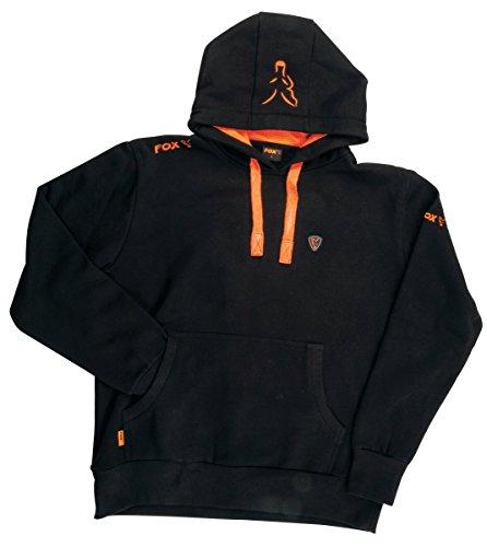 Fox Black / Orange Hoodie Kapuzenpullover, Pullover mit Kapuze, Angelpullover, Anglerpullover schwarz/orange, Größe:M (Hoodie Angeln)