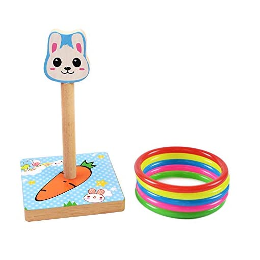 MansWill-Ring-Wurf-Spiel-Set-fr-Kinder-Holz-Eltern-Kind-Familie-Spa-Loop-Werfen-Spielzeug-fr-Kinder-Erwachsene-Drinnen-Drauen-Tier-Quoits-Spiele-mit-5-Kunststoff-Ringe