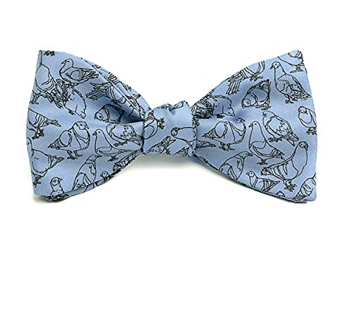 Josh Bach Men's Pigeons Self Tie Silk Bow Tie in Blue, Made in USA Blue Silk Bow Tie