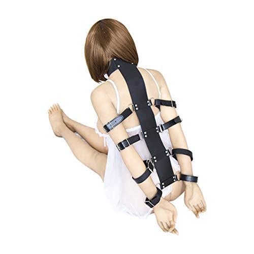 FIZZENN Strict Belts Collar Harness Restraint Fetish Sex ARM Belt Binder Restraint für Kinky Sexy Fun und Fancy Dress Unisex Black Leather Sex Bondage für Frauen,Black