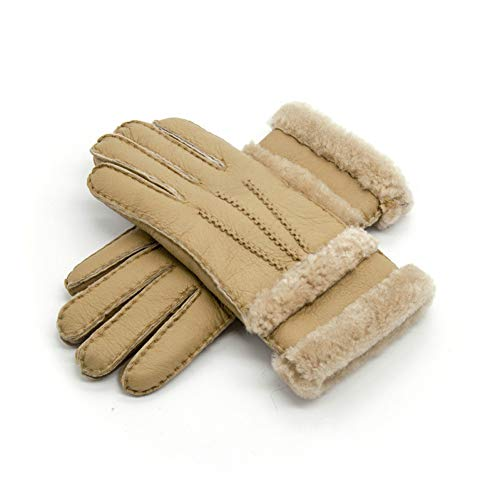 Huasho Reine Schaffell-Winter-Handschuh-Frauen-realer Pelz-warme Handschuh-Damen-volle Finger-echtes Leder-Handschuh-Handschuhe,Gelb -