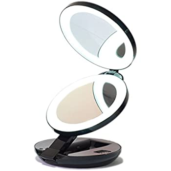 LED Lighted Travel Makeup Magnifying Mirror Magnifies 10x and 1x  Luxury  Double Side and Folding Pocket Vanity Cosmetic Mirror  Black. Gotofine LED Lighted Travel Makeup Mirror  Illuminated 1X   7X