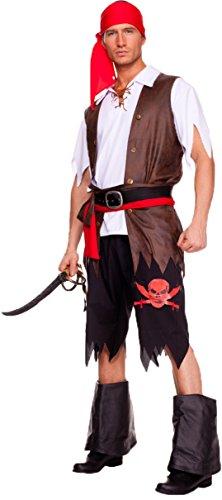 Aimerfeel-mens Piraten Kostüm Kostüm in Schwarz mit Top und Hose mit Schärpe und Halstuch und Weste