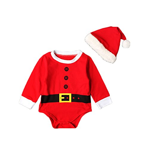 Baby Weihnacht Strampler ,Feicuan Santa Claus Langarm Xmas Rot Kinder Kostüm mit Mütze 0-2 (Claus Baby Outfit Santa)