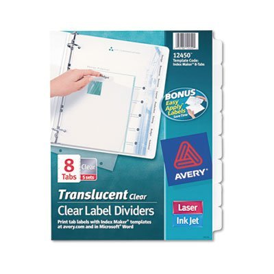 Index Label Dividers, Plastic, 8-Tab, 3HP Punched, Clear, Sold as 1 Package by Avery??