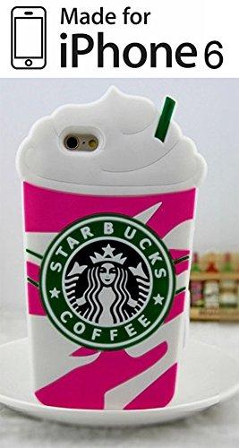 Cover 3D Starbucks Ice Cream Gelato Rosa in Silicone Morbida Custodia per Apple Iphone 6 - 6S