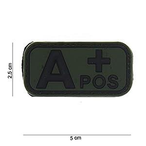 Patch 3D PVC Groupe Sanguin A+ Positif Noir et Vert / Cosplay / Airsoft / Camouflage …