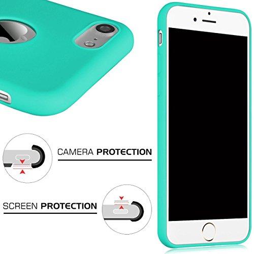 Cover iPhone 7 (4.7),ToDo iPhone 7 Custodia Silicone Ultra Morbido Satinate Opaco Ultra Sottile TPU Flessibile Gomma Cassa Protettiva Gel [Anti-scivolo] [Anti-Graffio] [Antiurto] Leggero Cellulari Pr Rosa + Viola + Verde menta