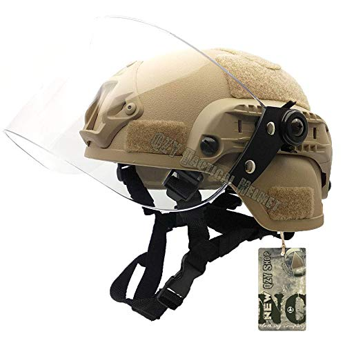 Swat Airsoft Kostüm Set - QZY 2 in 1 Schutz Anti Riot Mask + Airsoft Paintball PASGT Swat Helm Set Für Die Persönliche Sicherheit Der Jagd Paintball BB Ball Shooting,Beige