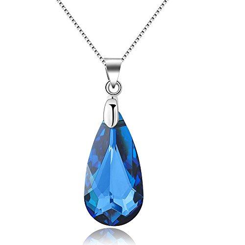City Ouna® Swarovski Elements blau Österreich importierten Kristall Anhänger Halskette Silber Charm Modeschmuck Valentine Geschenk,Weihnachten Geschenk,Monther's Day,Halloween