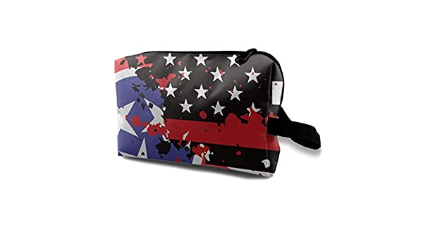 Tennessee Thin Blue Line Flag USA Small Cosmetic Bags Travel Makeup Bag Fashionable Organizer For Women Girls