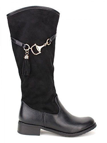 Cendriyon, Cavalière Peau noire QUEEN'S Chaussures Femme Noir