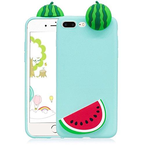 Cover iphone 7 plus Custodia iphone 8 plus Silicone 3D Cartoon Leton Morbido TPU Gel Case per Apple iphone 7 plus / 8 (5.5 pollici) Ultra Sottile Flessibile Satinato Gomma Caso Anti Graffio Antiurto P Cocomero Verde