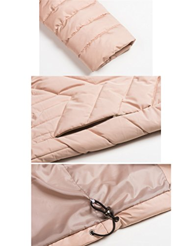 MatchLife Femme Manteau Trench Parka Hiver avec Capuche Blousons Style2-Rose