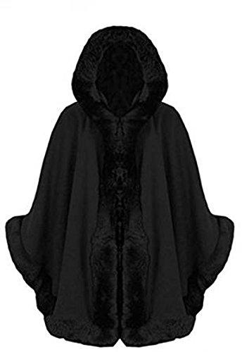 Fashion Essentialsdi -Le donne italiane Poncho Capo Faux Fur Hood Poncho Black