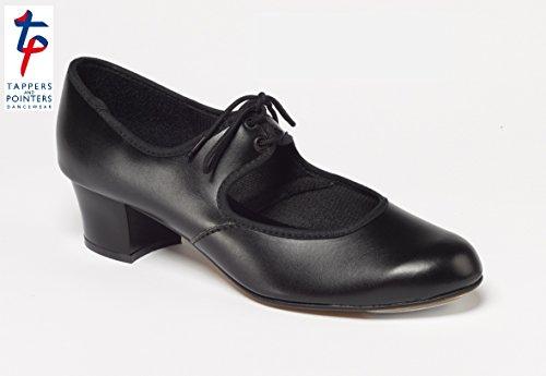 Tappers & Pointers PU Tippen Schuhe Cuban Heel mit Ferse und Zehen Wasserhähne schwarz, damen, schwarz