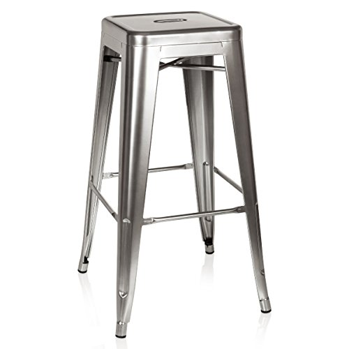 hjh OFFICE 645015 Barhocker VANTAGGIO HIGH Metall Platin Silber Retro-Hocker im Industry-Design, - Eisen Barhocker