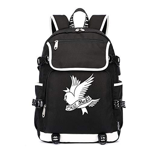 Lil PEEP Rucksäcke Game Laptop Daypack, Notebook Schulrucksack mit USB-Ladeanschluss und Anti-Diebstahl Versteckte Tasche Versteckte Usb