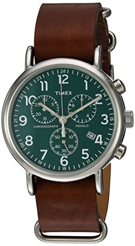 Timex Unisex TW2P97400 Weekender Chrono Oversize Brown Leather Slip-Thru Strap Watch  available at amazon for Rs.7263