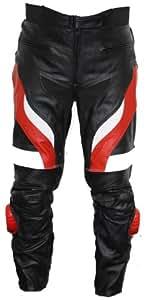 Motorradhose Motorrad Biker Racing Lederhose Rindsleder Schwarz/Rotweiss, Größe:48