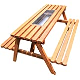 "The Chic Cooler Picnic Table and Benches (6 Seater) with Stainless Steel Trough Insert for ice. L 58.5"" X W 48"" X H 28"""