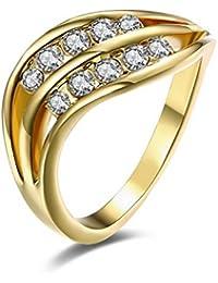 YAZILIND joyas de 18 quilates chapado en oro brillante 2 filas redondas cubic zirconia elegantes mujeres anillo para…